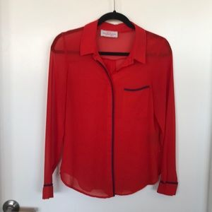 Red collared shirt